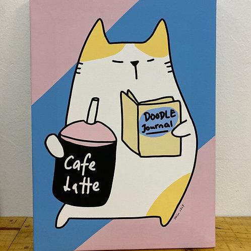 Canvas frame - Cafe & Journal doodle (A3 size)