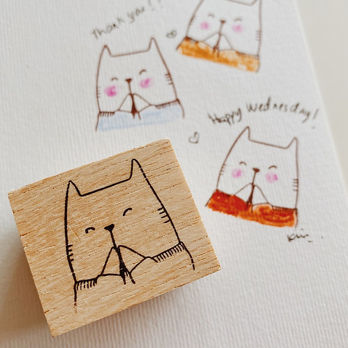 Catdoo rubber stamp - Happy Catdoo in sweater