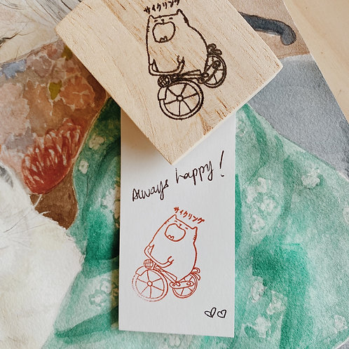 Catdoo rubber stamp - Japan memories collection -cycling