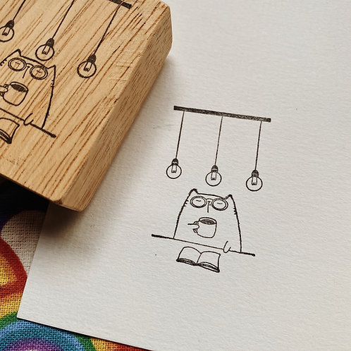 Catdoo rubber stamp -  New coffee and book