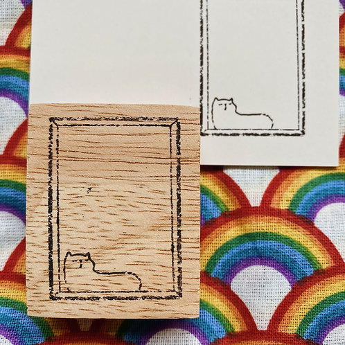 Catdoo rubber stamp - Chilled out cat label stamp