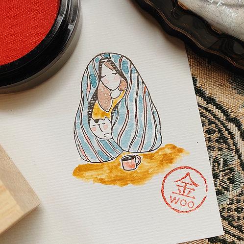Catdoo rubber stamp - Mi&Meow vol.3 - comfy blanket