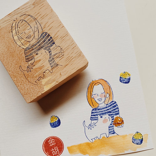 Catdoo Rubber Stamp - ' Mi & Meow' series - Munch with Meow