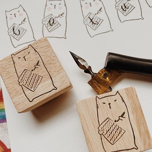 Catdoo Rubber Stamp -  CATligrapher with practice sheet