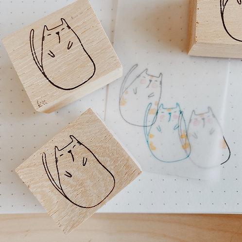 Catdoo rubber stamp - cat waiting