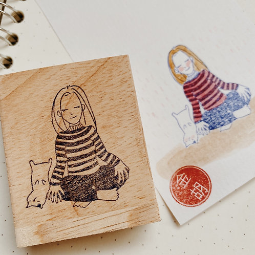 Catdoo Rubber Stamp - 'Mi & Meow' Series Meditate with Meow