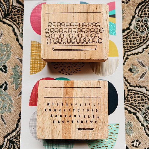 Catdoo label stamp set - typewriter keyboard and alphabetical notes