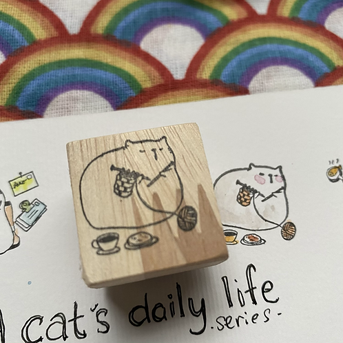 Catdoo rubber stamp - 'A cat's daily life' - Knitting Meow