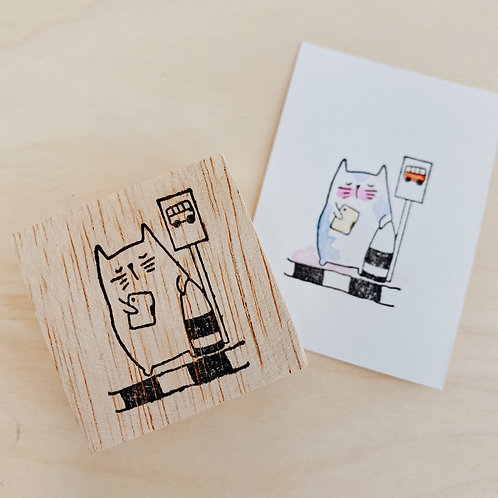 Catdoo rubber stamp -Bus stop