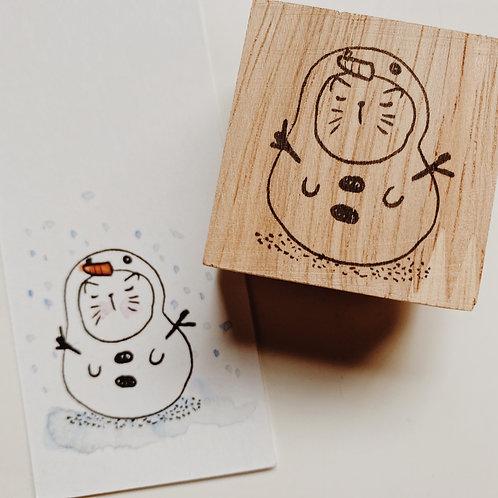 Catdoo rubber stamp - Season's series Cat in snowman ⛄️ costume.