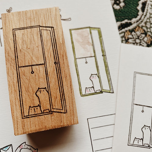 Catdoo rubber stamp - cats by the window