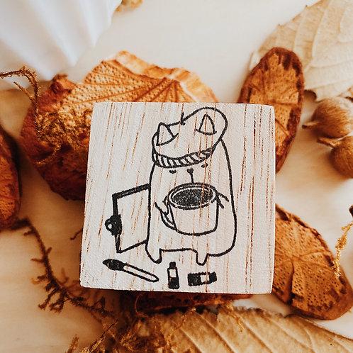 Catdoo rubber stamp - artist n coffee