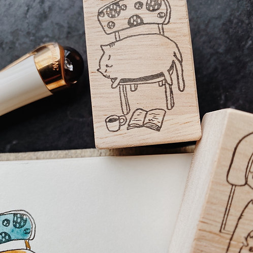 Catdoo Rubber Stamp - Napping meow