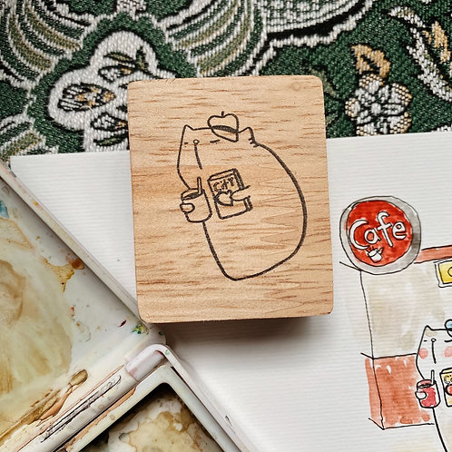 Catdoo rubber stamp - cat, book and coffee series - cat in the city