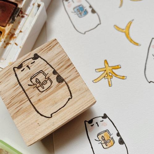 Catdoo rubber stamp - Neko & Book - Neko start journaling