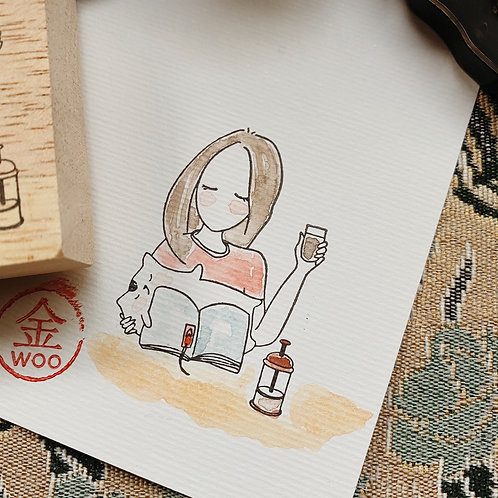 Catdoo rubber stamp - Mi&Meow vol.3 - all snuggles up for reading