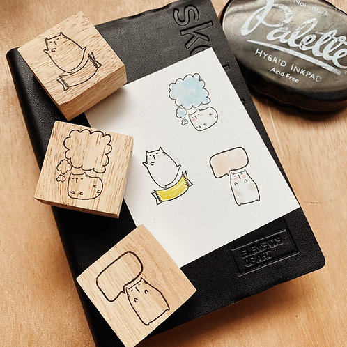 Catdoo rubber stamp - bubble label 🏷 stamps set A