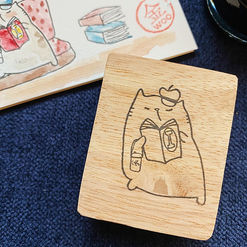 Catdoo rubber stamp - cat, book and coffee series - keep calm with book