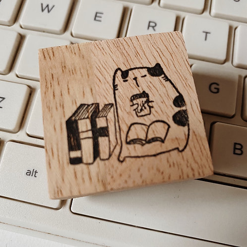Catdoo rubber stamp - Neko&Book series - In the library