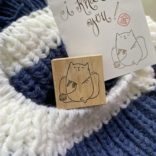 Catdoo Rubber Stamp - Let's knit together