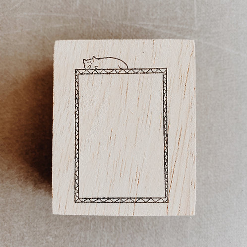Catdoo rubber stamp - Label box with Meow