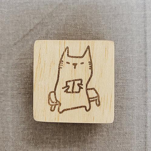 Catdoo rubber stamp - cutie cat reading