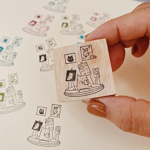 Catdoo rubber stamp - Cat Art Gallery