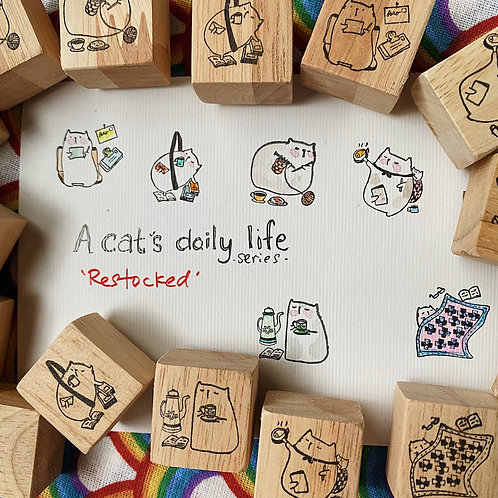 Catdoo rubber stamp set - A cat's daily life