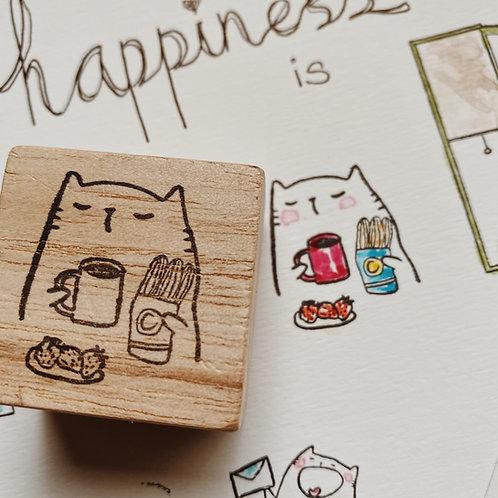 Catdoo rubber stamp - breakfast set
