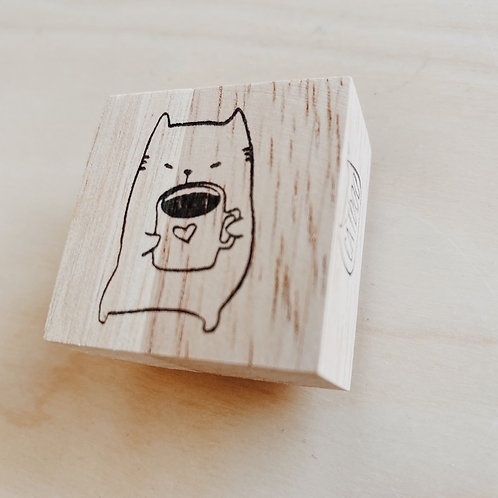 Catdoo rubber stamp - Coffee time