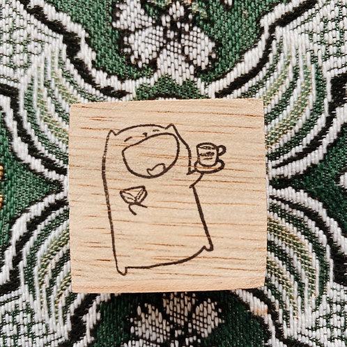 Catdoo rubber stamp - Enjoying meal cat