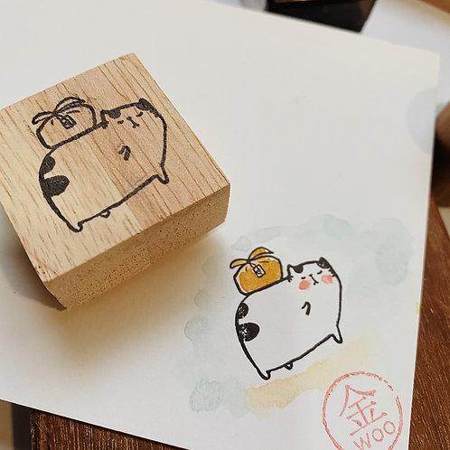Catdoo rubber stamp - Neko & Book - Neko delivery