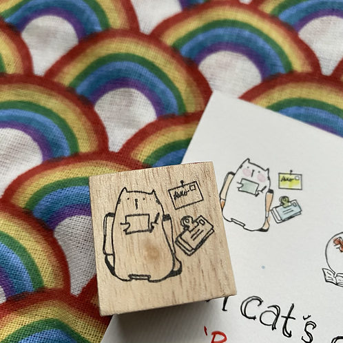 Catdoo rubber stamp - 'A cat's daily life' series 'Snail mailing cat'