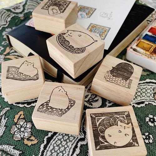 Catdoo rubber stamp - Meowgic carpet series set