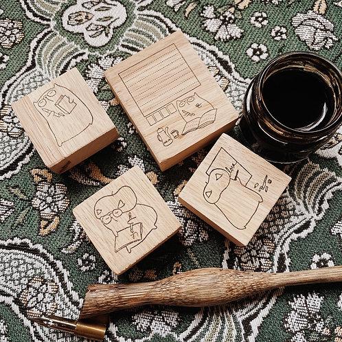 Catdoo rubber stamp set - Chu the calligrapher series vol.1 set of 4pcs +2 icons