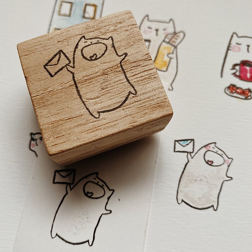 Catdoo rubber stamp - happy snail mailing cat