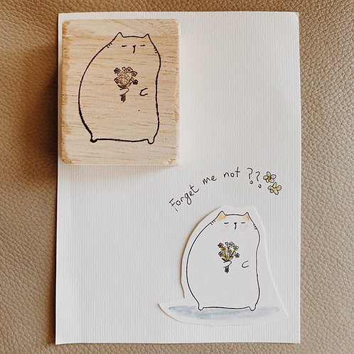 Catdoo rubber stamp - Forget me not cat