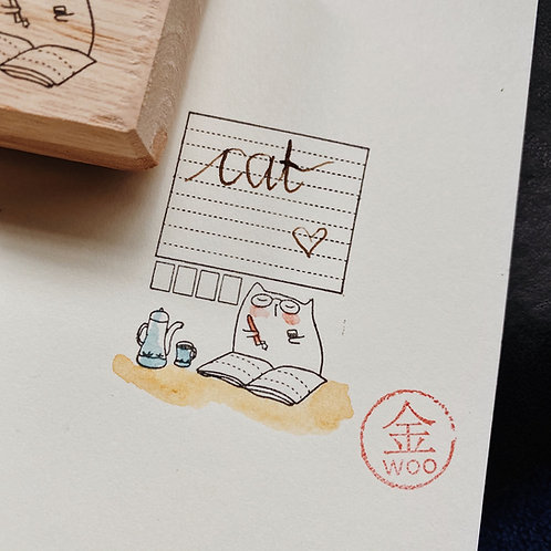 Catdoo rubber stamp - Chu the calligrapher - Label stamp 1