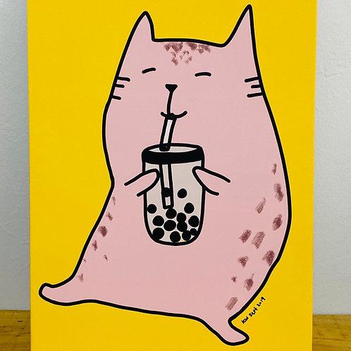 Canvas frame - Boba cat (A3 size)