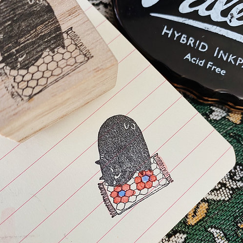 Catdoo rubber stamp - Honeycomb Meowgic carpet