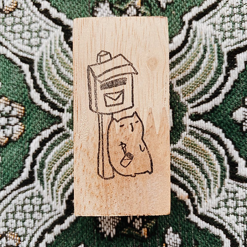 Catdoo rubber stamp - waiting for mail cat