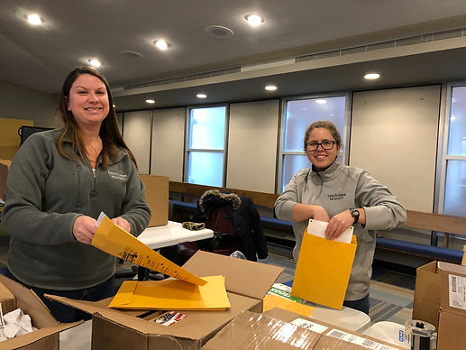 Sara and Sally volunteering for the Turkey Trot.