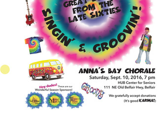 Remember to Come and Join Us for Peace, Love, Singin', and Groovin' with Anna's Bay Chor