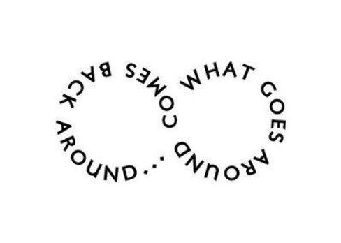 text graphic of What goes around come bac around