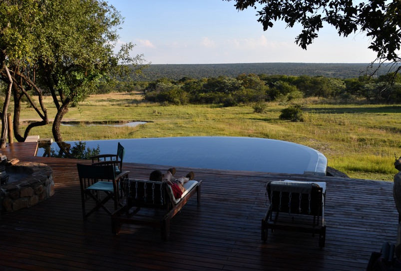 Swimming pool view from Zangarna lodge