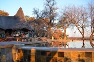 Zangarna lodge swimming pool at sunset