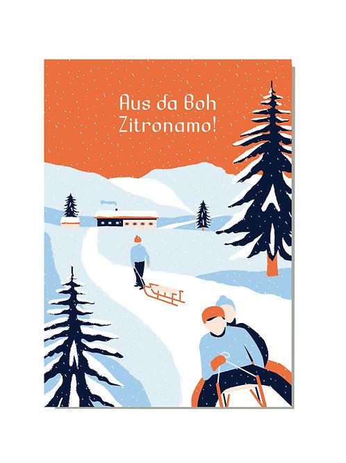 Postkarte Schlittenfahrt