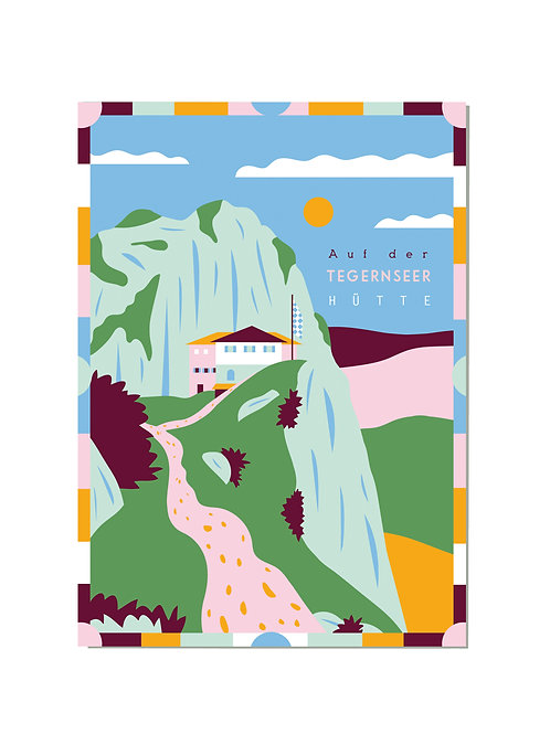 Postkarte Tegernseer Hütte
