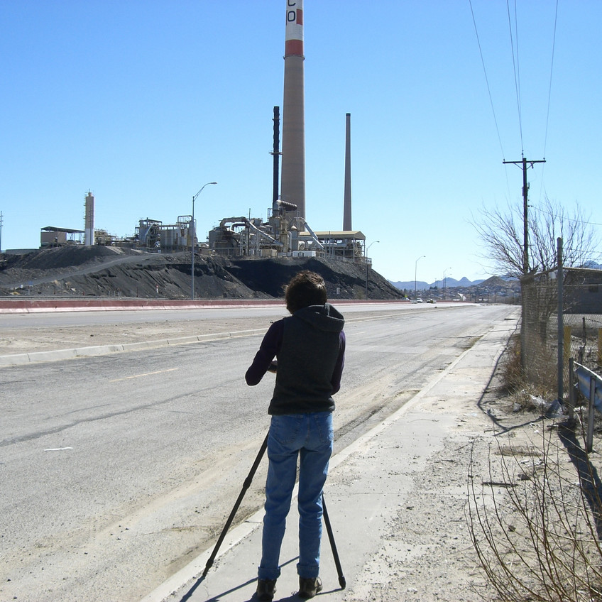 Filming on Paisano, site of the former ASARCO El Paso smelter