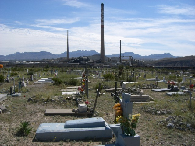 Smeltertown Cemetary, with ASARCO stacks in the distance